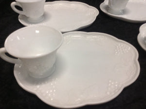 Milk Glass - Snack Plate w/ Cup - Set of 4