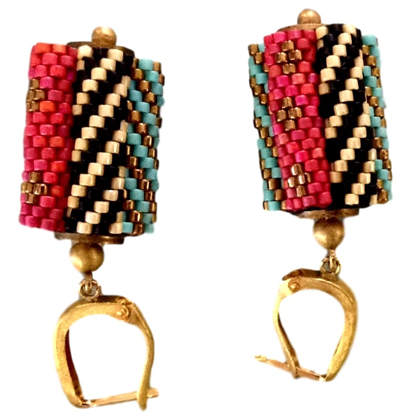 Cylinder Mesh Pink Black Teal Green Earrings with Gold and Silver from India