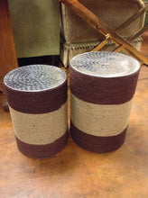 Load image into Gallery viewer, Pair of Two Tone Rope Wrapped Stools