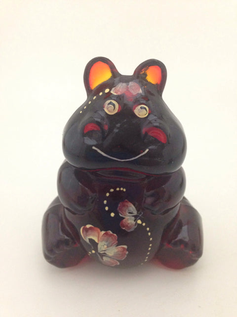 Ruby Red Painted Asian Cat Figurine