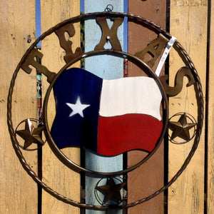 Circular Metal Texas Flag Wall Decoration