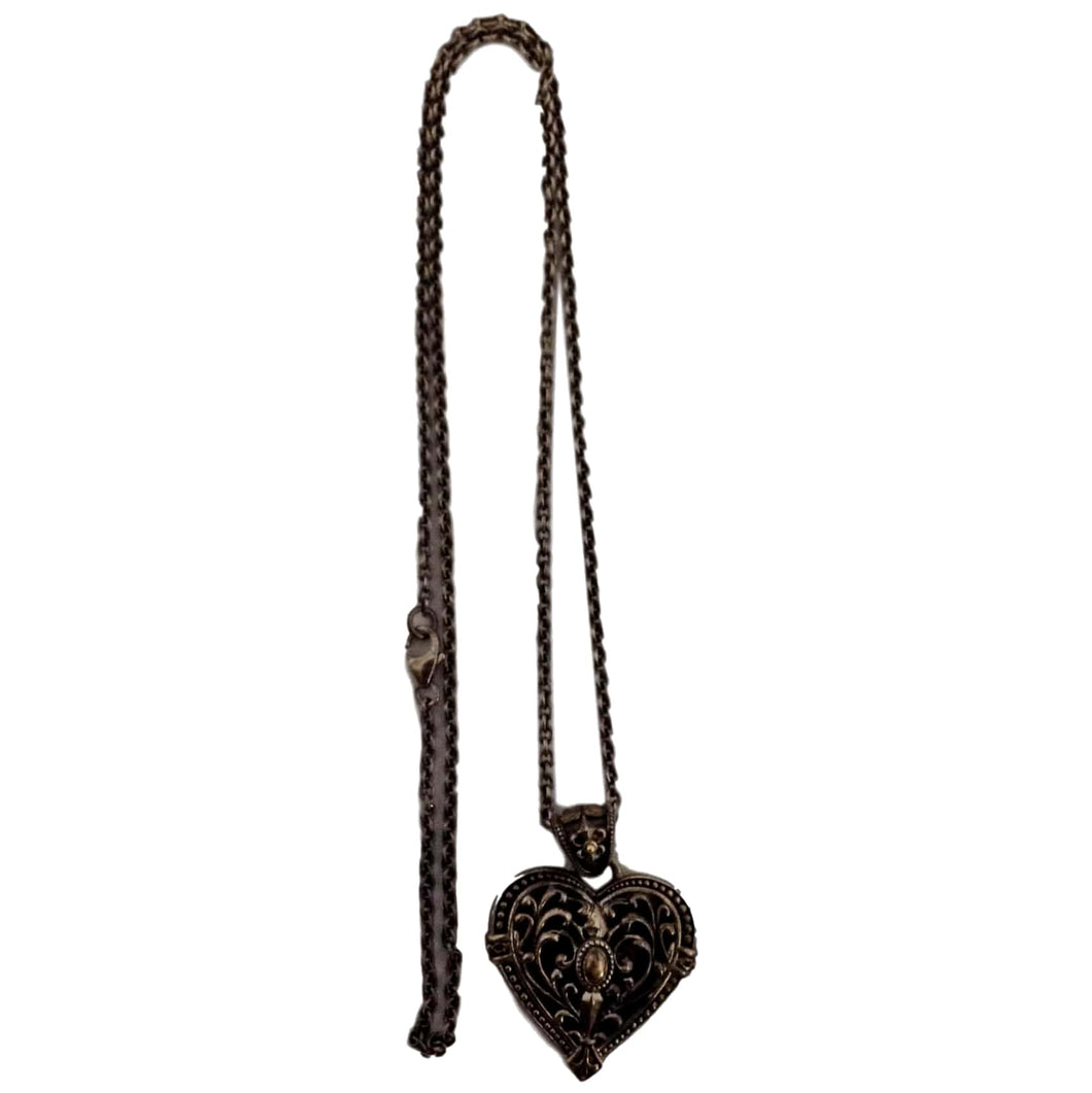 Silver/14KT Heart Necklace