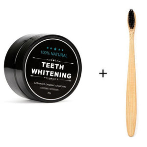 Bamboo Toothbrush & Charcoal Teeth Whitening Powder