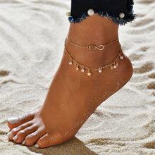 Load image into Gallery viewer, Pearls & Stars Double Layer Anklet