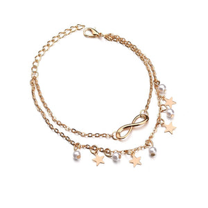 Pearls & Stars Double Layer Anklet