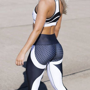 Honeycomb Pattern High Waist Leggings