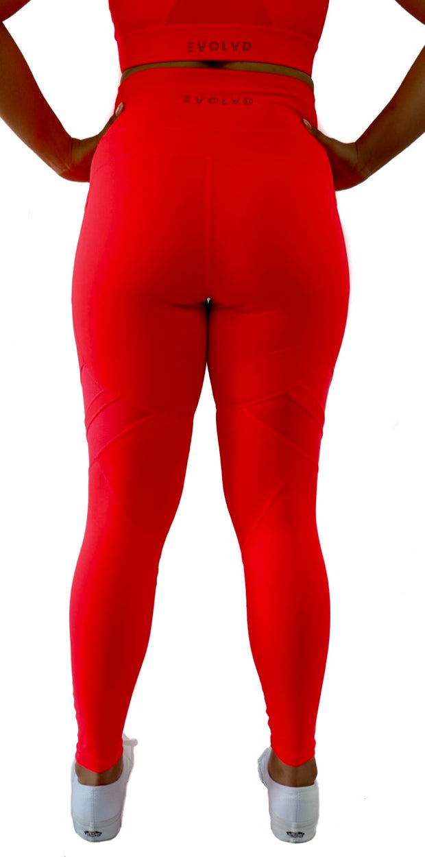 GENESIS POCKET LEGGINGS - NEON CORAL
