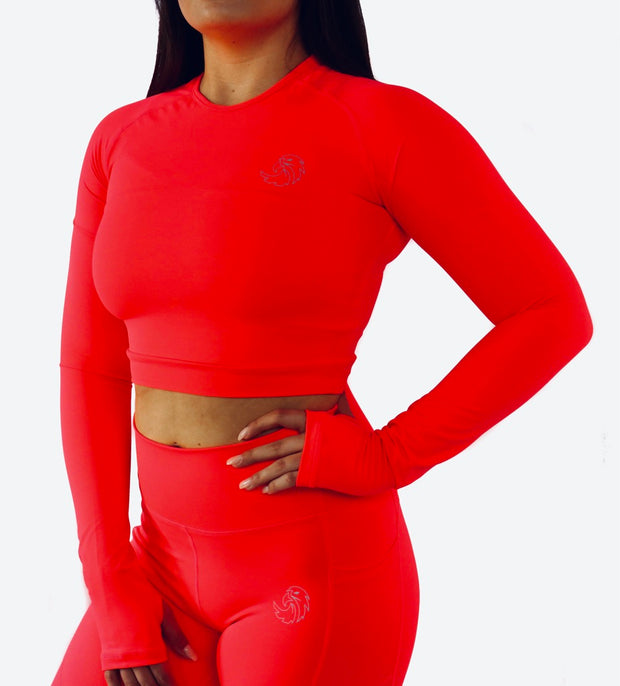 CROPPED LONG SLEEVE - NEON CORAL