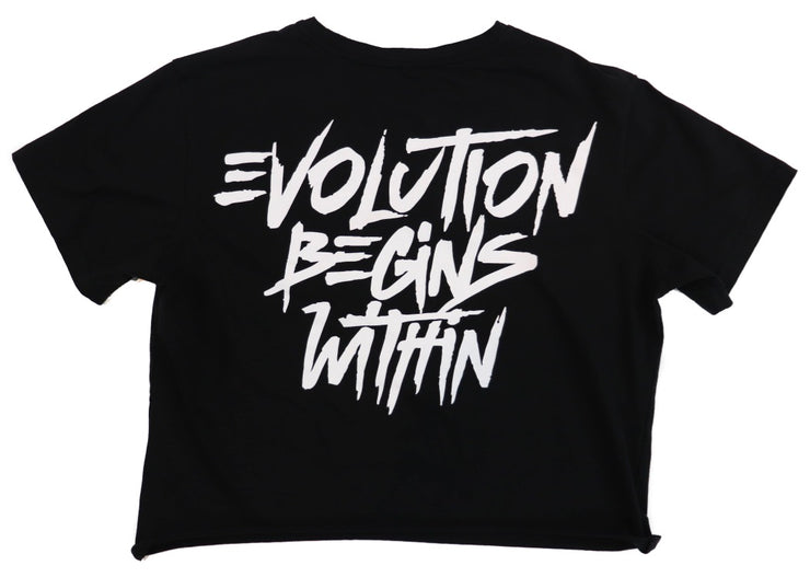 BOYFRIEND CROPPED EVOLUTION TEE - BLACK