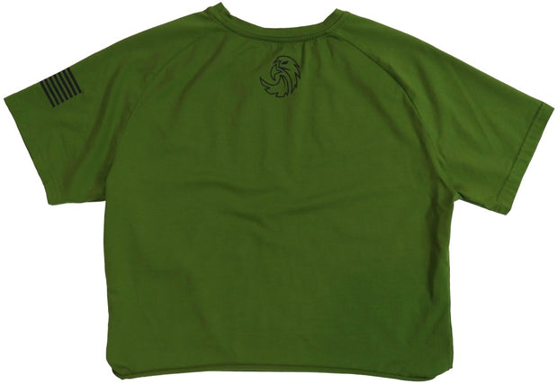 BOYFRIEND CROPPED ASPIRE TEE - GREEN