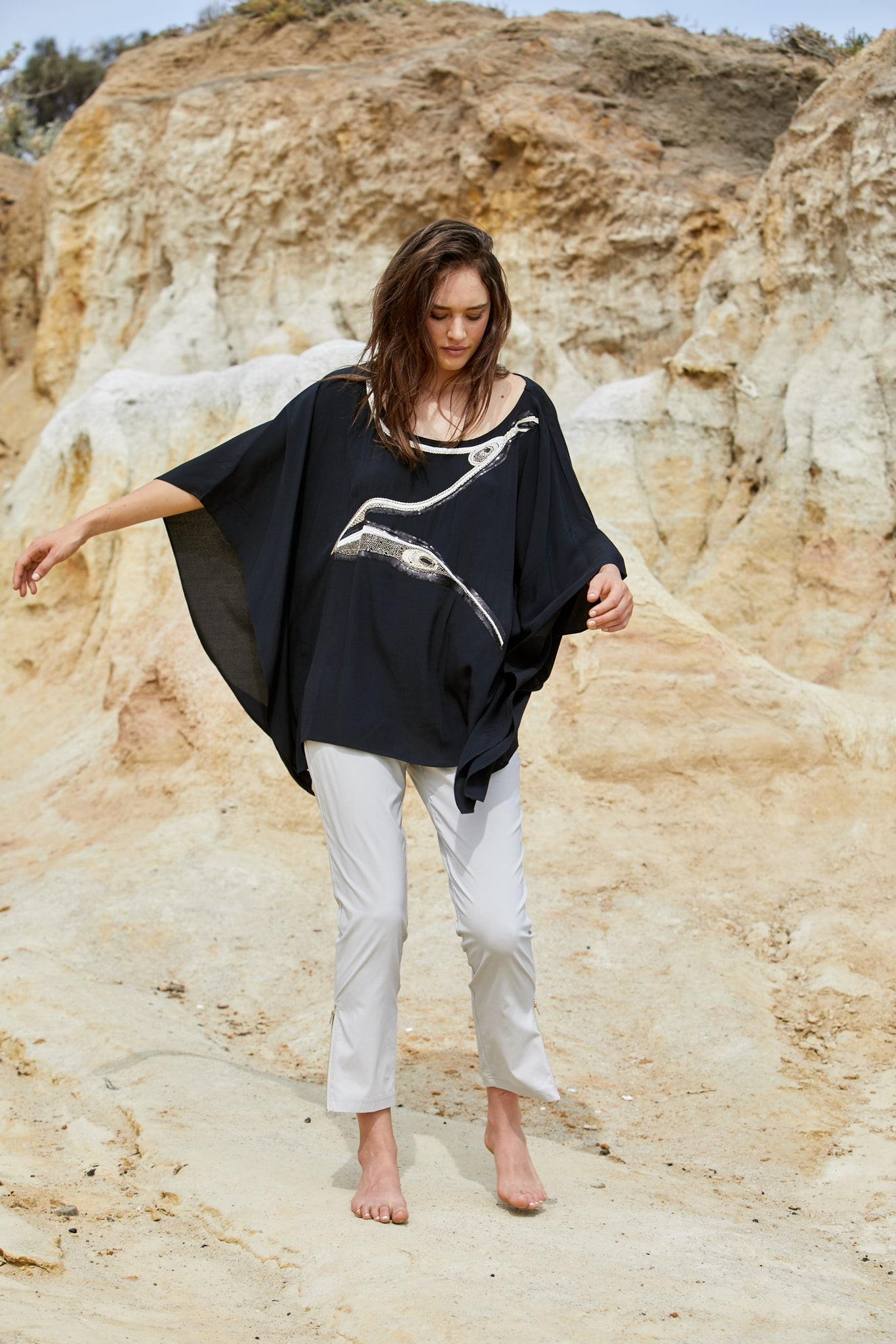 Avian Top - Pure Viscose Crepe Exclusive Beaded Design