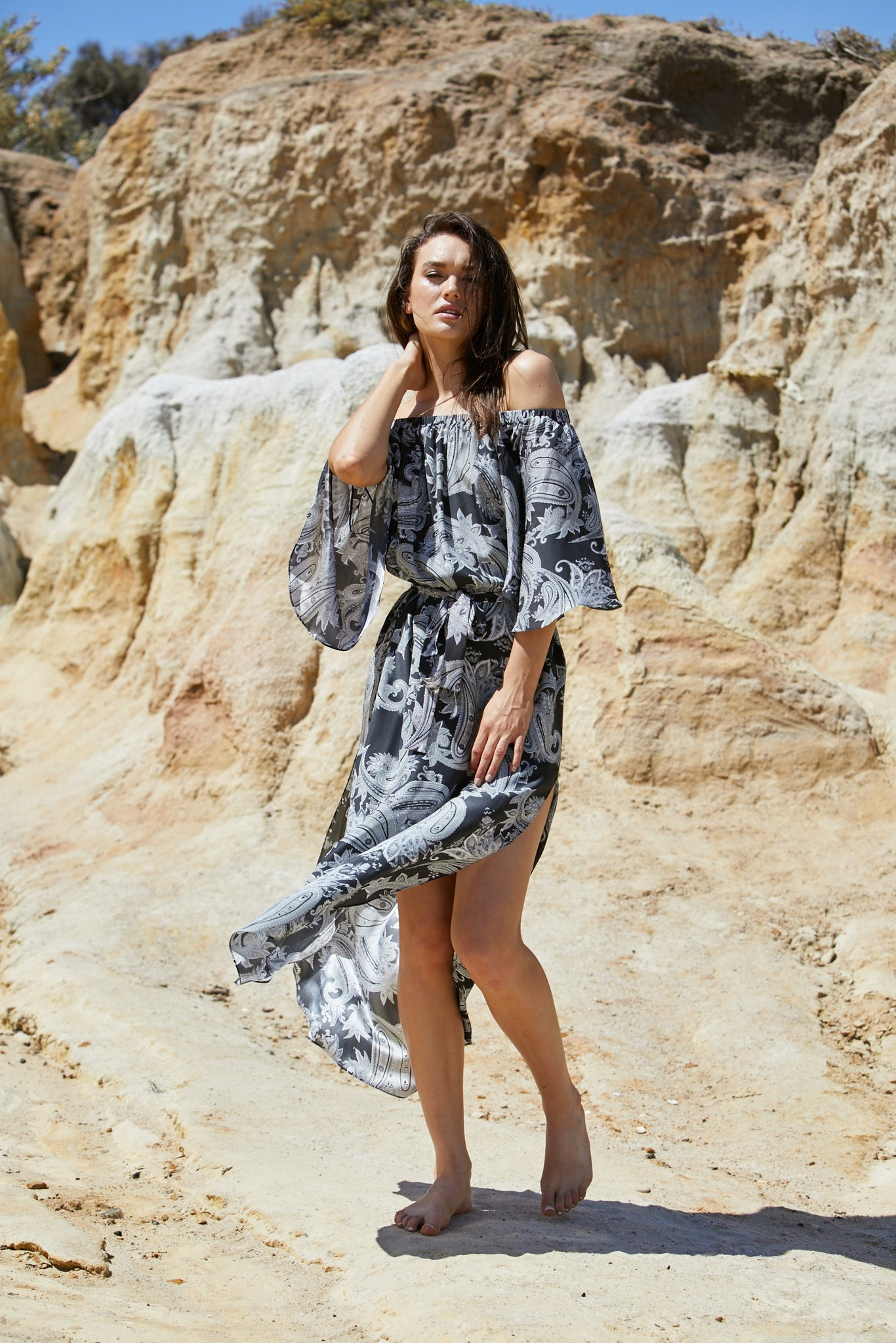 Avatar Dress - Sand Washed Silk Exclusive Print