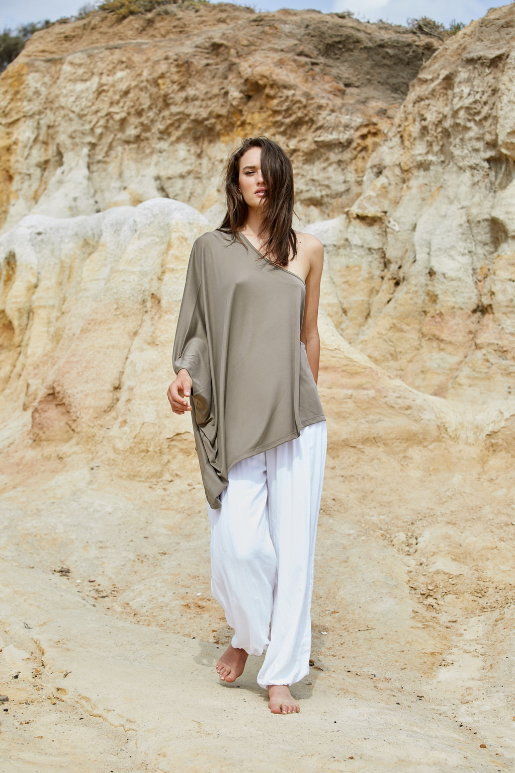 Athena Shoulder Top - Sand Washed Modal Jersey
