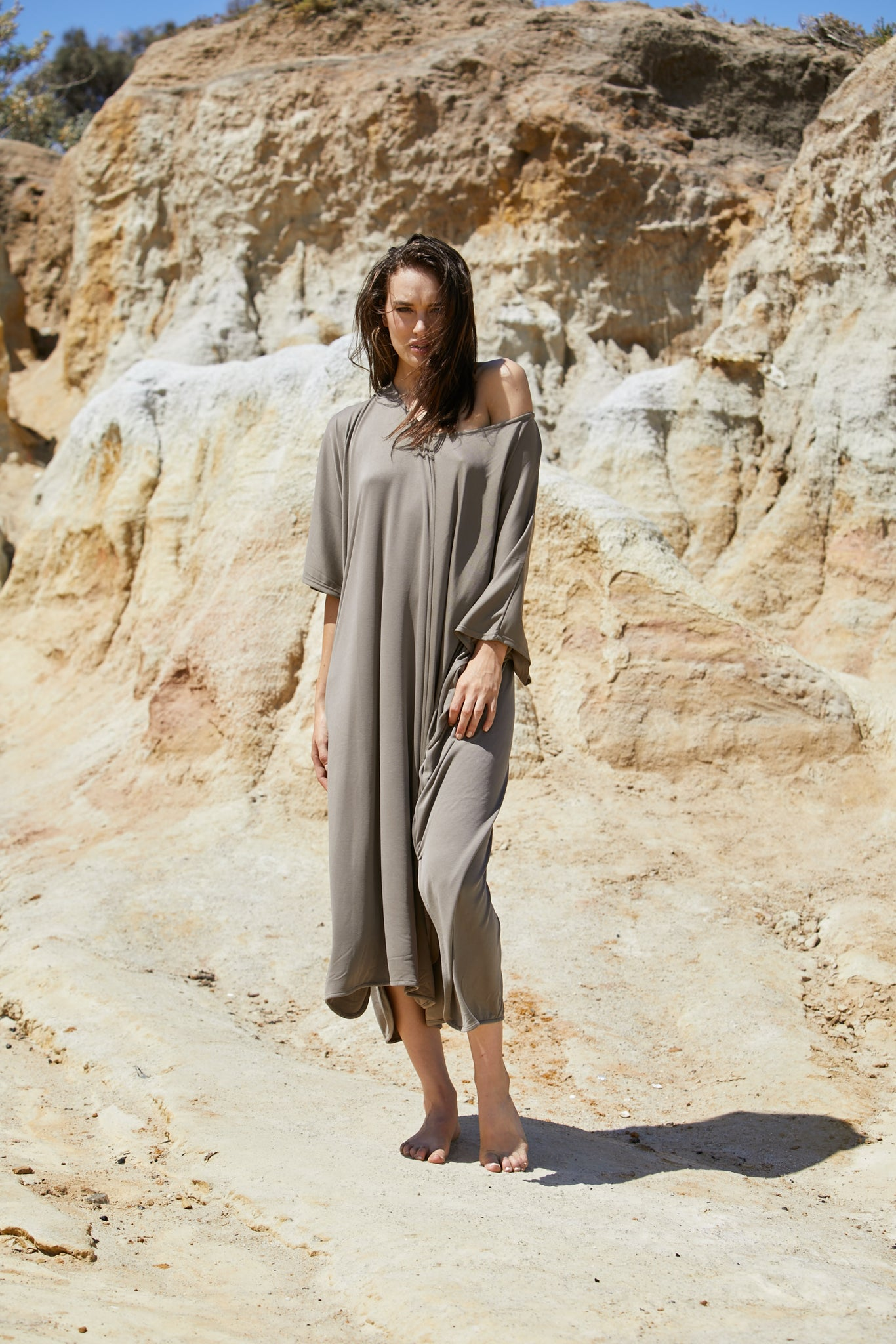 Thalia Dress - Sand Washed Modal Jersey
