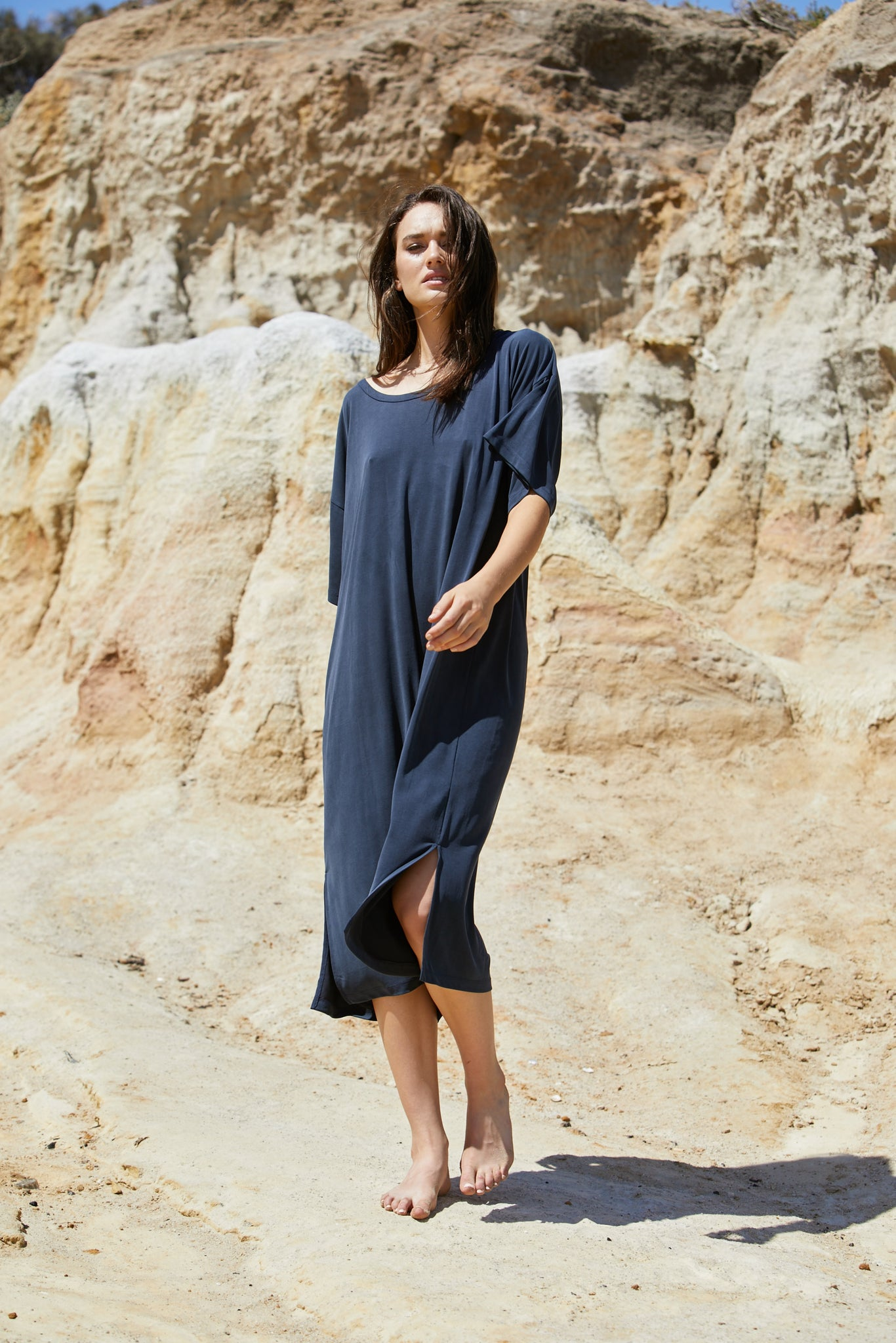 Clio Tee Dress - Sand Washed Modal Jersey - Aegean