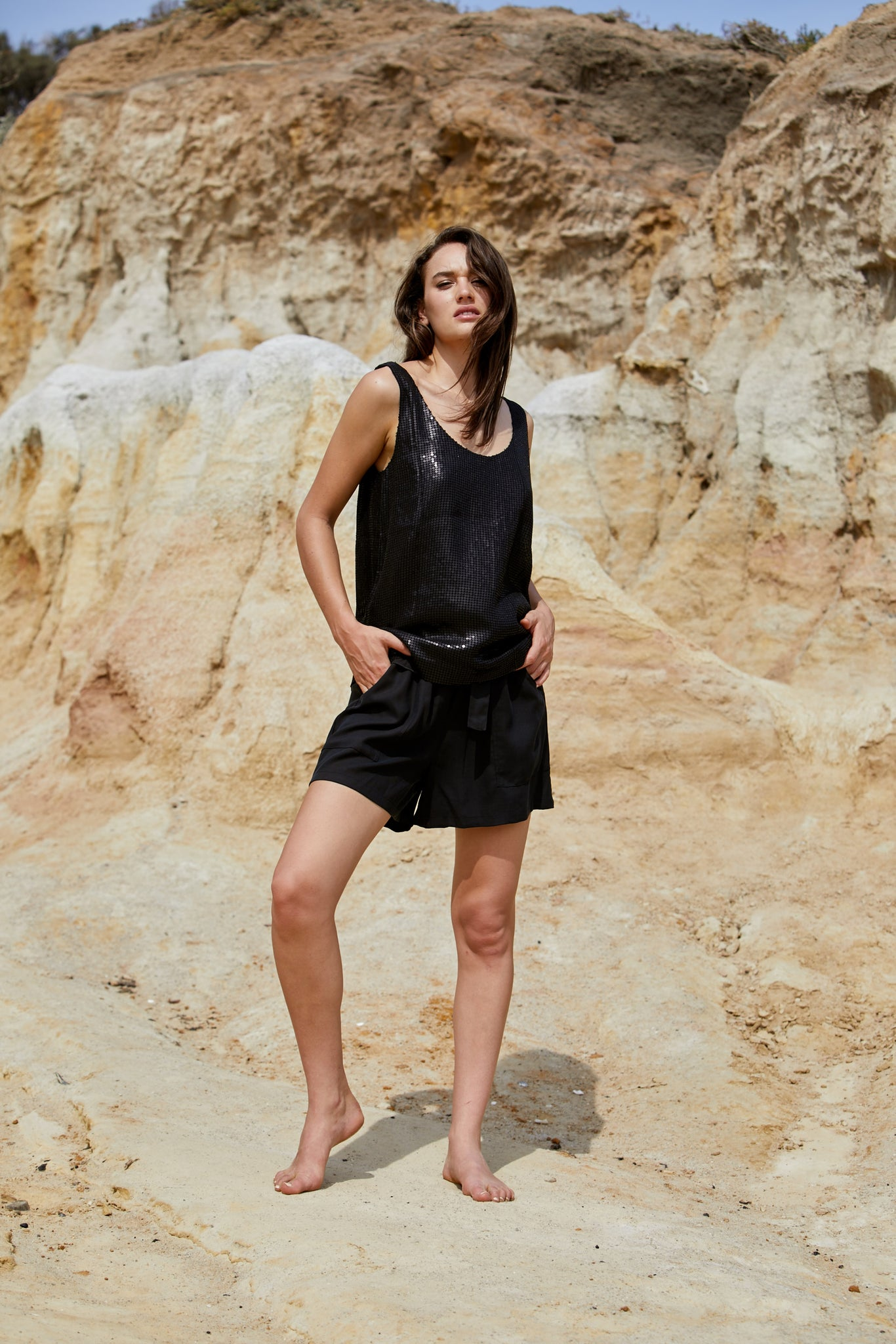 Cosmo Tank - Reconstituted Viscose Pebble Georgette & Sequins