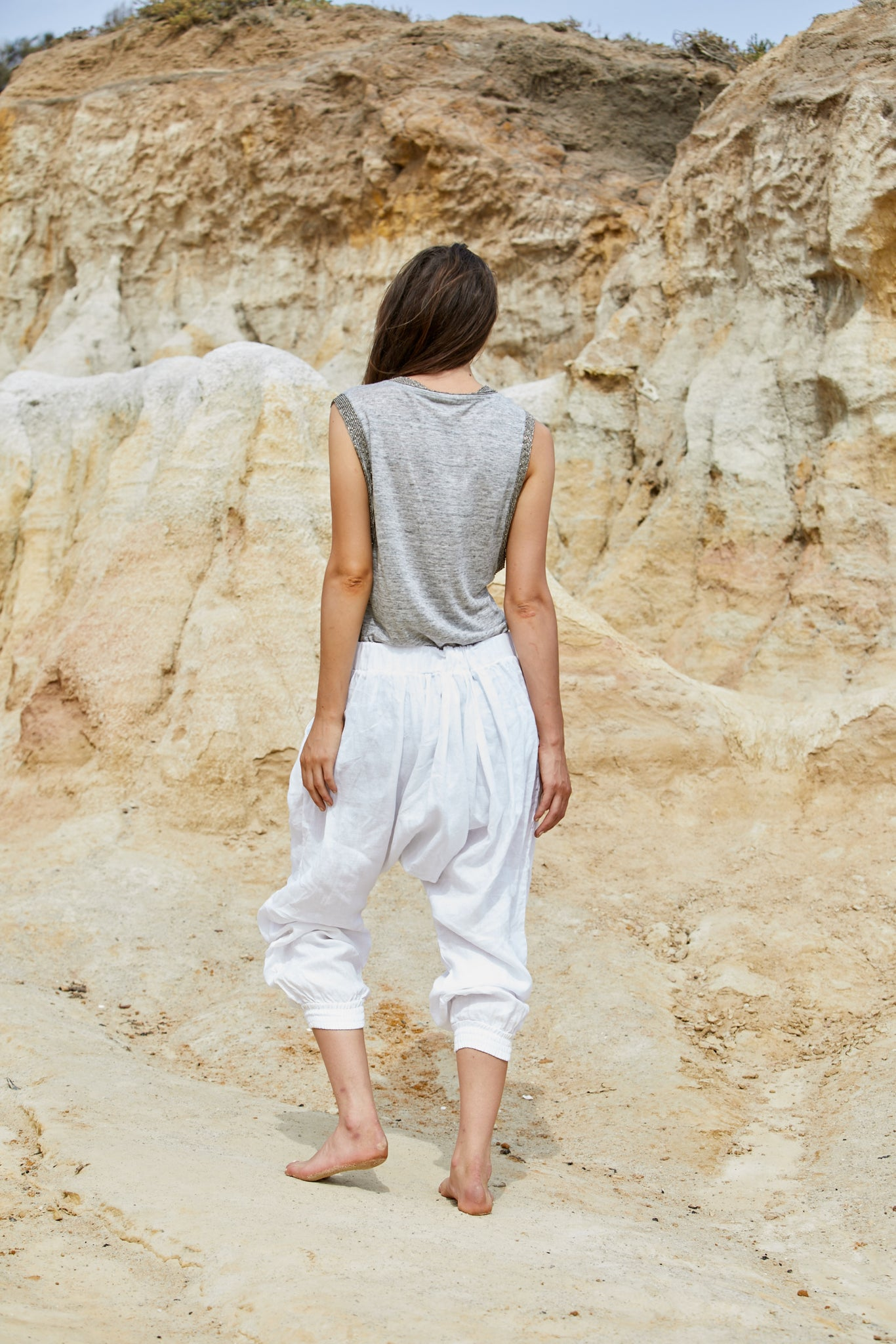 Luina Beaded Top - Pure Linen