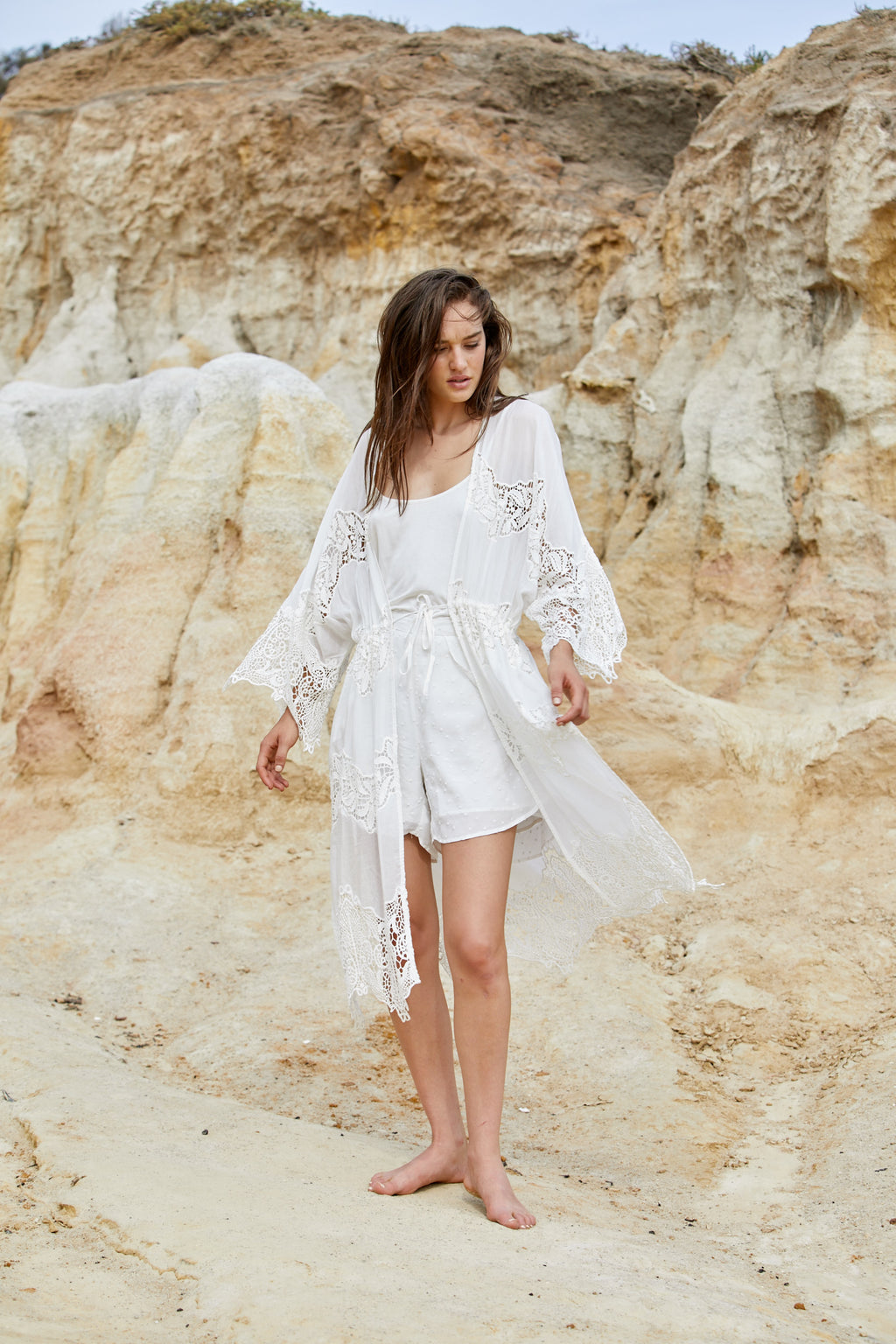 Naida Robe - Washed Silk Cotton & Lace