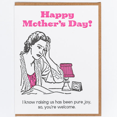 Mother's Day pure Joy Letterpress Greeting Card