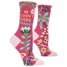 Load image into Gallery viewer, Hi. I Don't Care. Women's Crew Socks