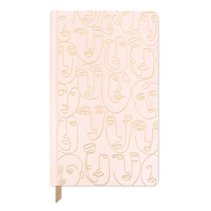 Faces pink notebook -  bookcloth cover