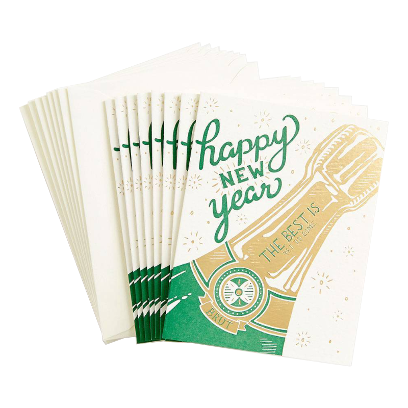 Champagne Bottle New Year Card Set