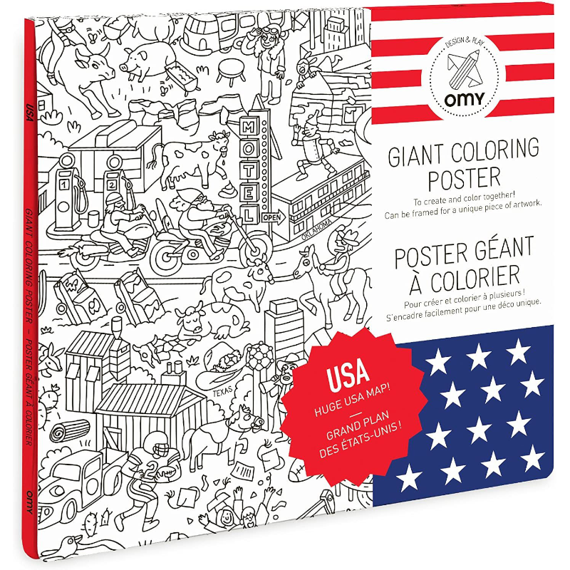 Giant USA Coloring Poster - folded