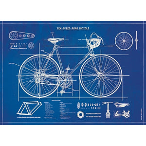 Bicycle Blueprint Flat Wrap