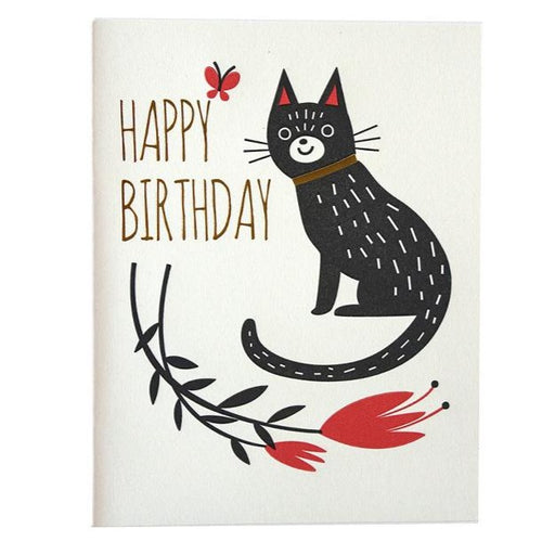 Birthday Flower Cat Card