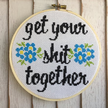 Load image into Gallery viewer, Get Your Shit Together Cross Stitch Kit