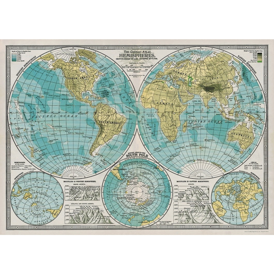 Map:  Hemispheres Map Vintage Flat Wrap