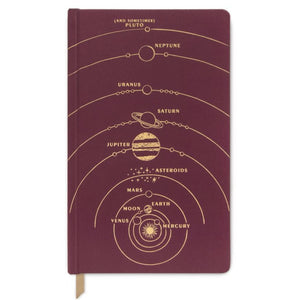 Solar System Burgundy notebook -  bookcloth cover