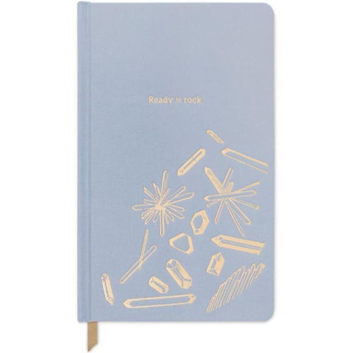 Dusty Blue Ready to Rock notebook -  bookcloth cover