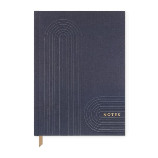 Navy Linear Geo Notes - Bookcloth cover