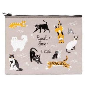 Zipper Pouch:  People I love - CATS