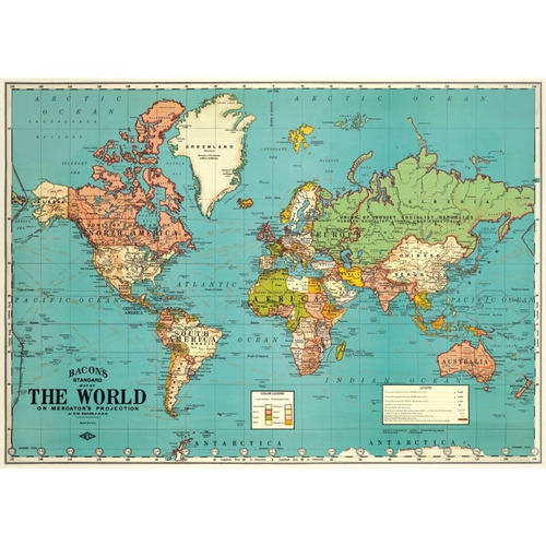Map:  World 4 Vintage Flat Wrap