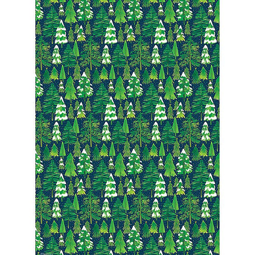Snowy Evergreen Trees Paper Sheet