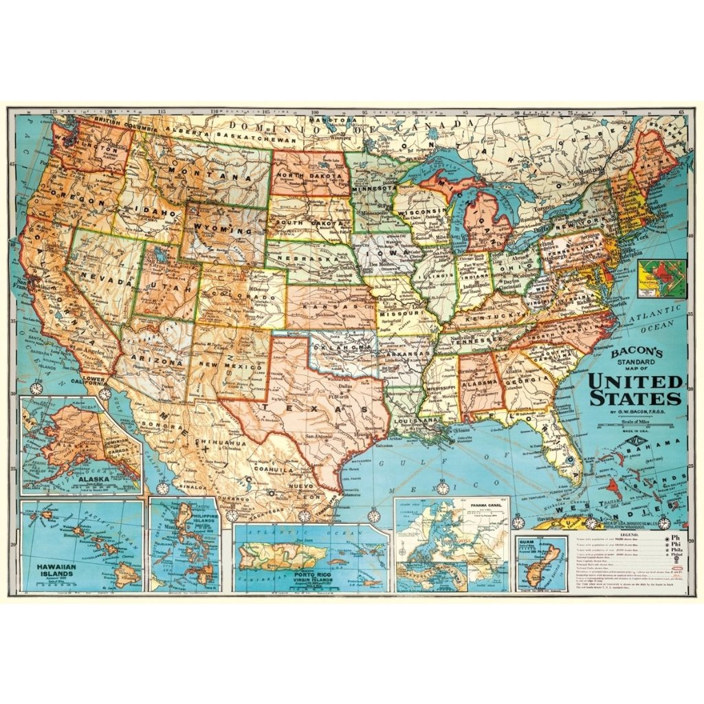 Map:  USA Map Vintage Flat Wrap