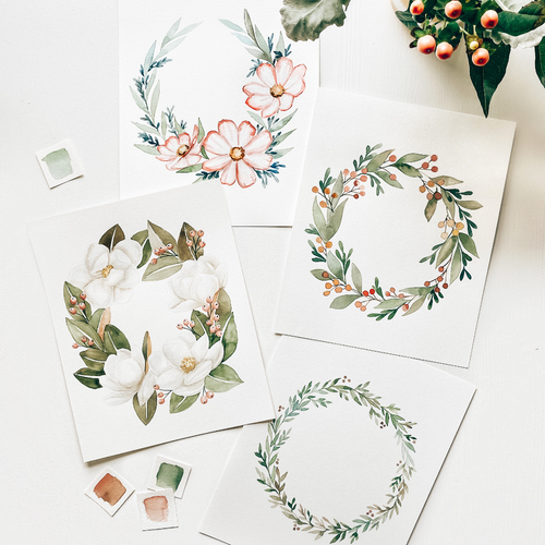 Wreath Art Watercolor Kit
