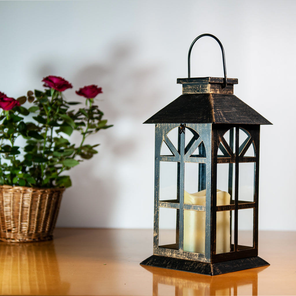 Solar Lantern Classic Bronze & Metal and Glass Construction