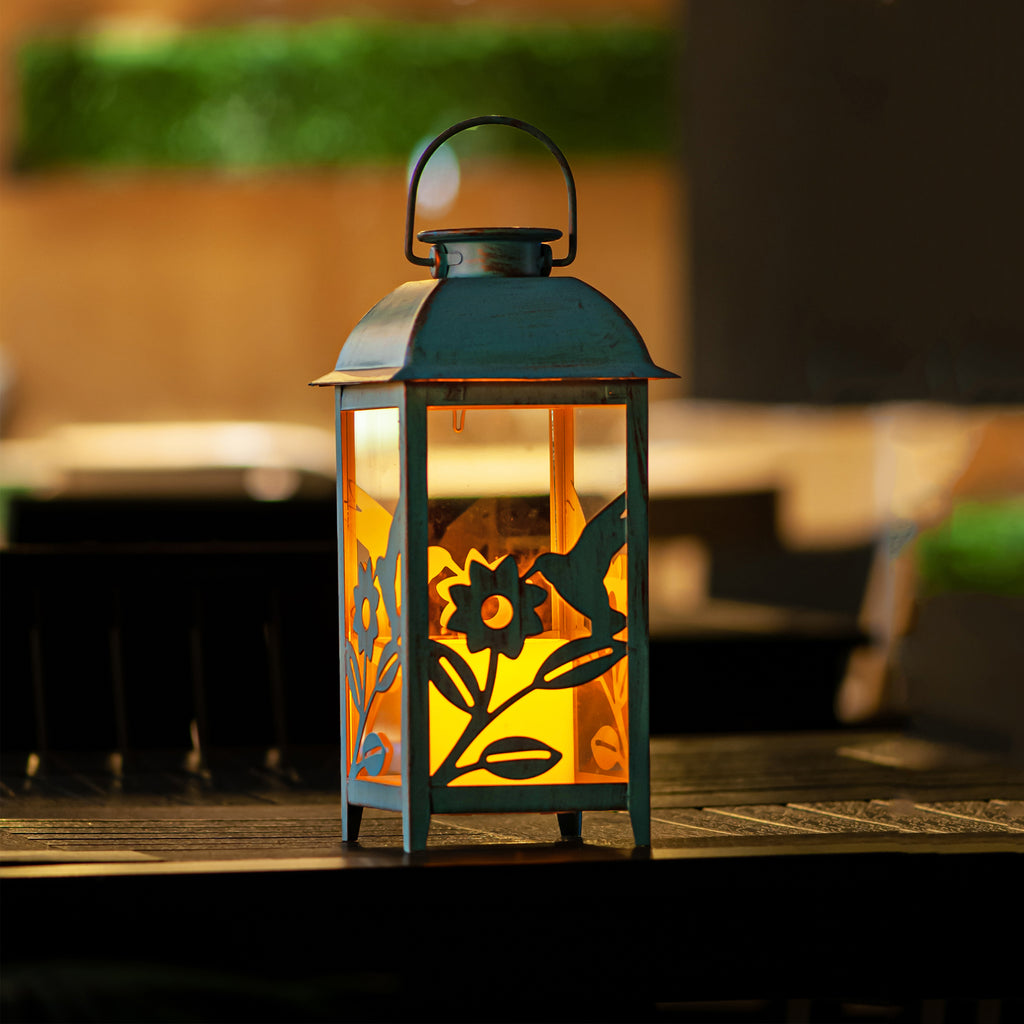 10% OFF NOW!!! -Solar Lantern Hummingbird Blue & Metal and Glass Construction