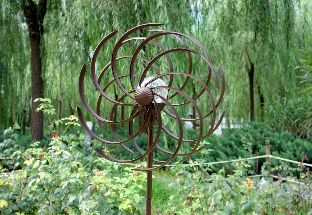 JS1001- Solar Wind Spinner Willow Leaves 61in