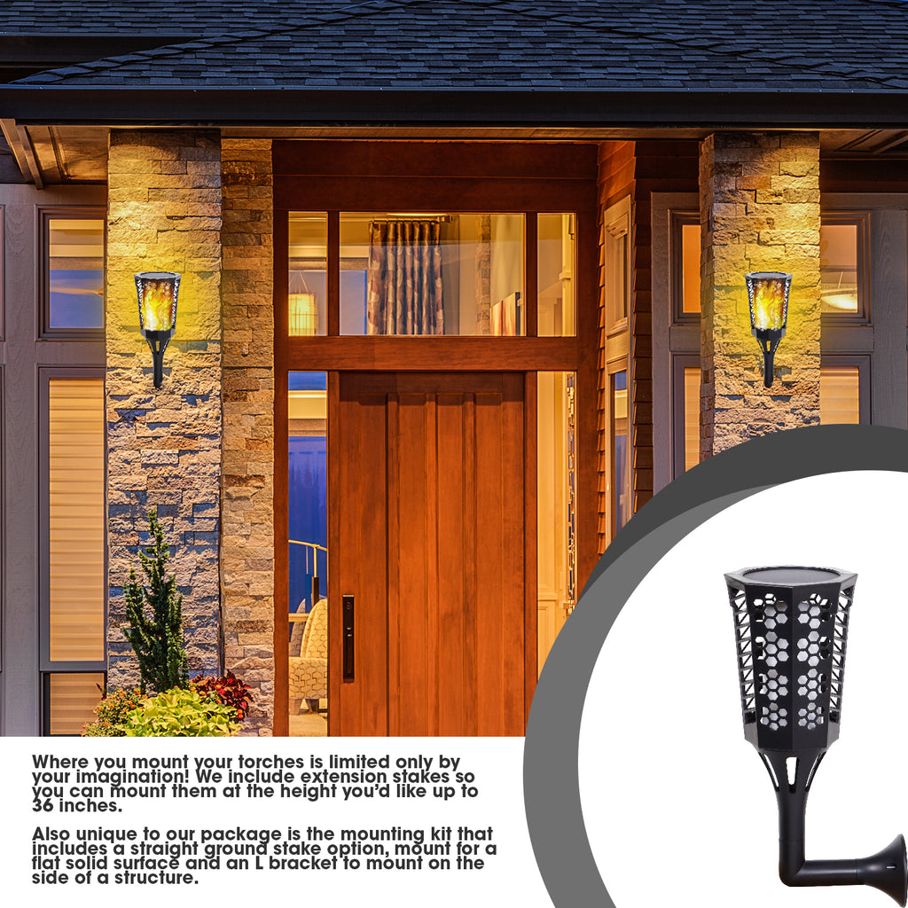 YYB0180-4pc - Solar Torch Landscaping Light Kit 4 Pack  (US only)