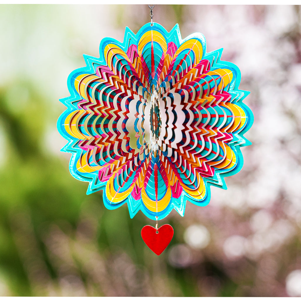 3D Wind Spinner Mandala Flame 12in / Stainless Steel (US Only)