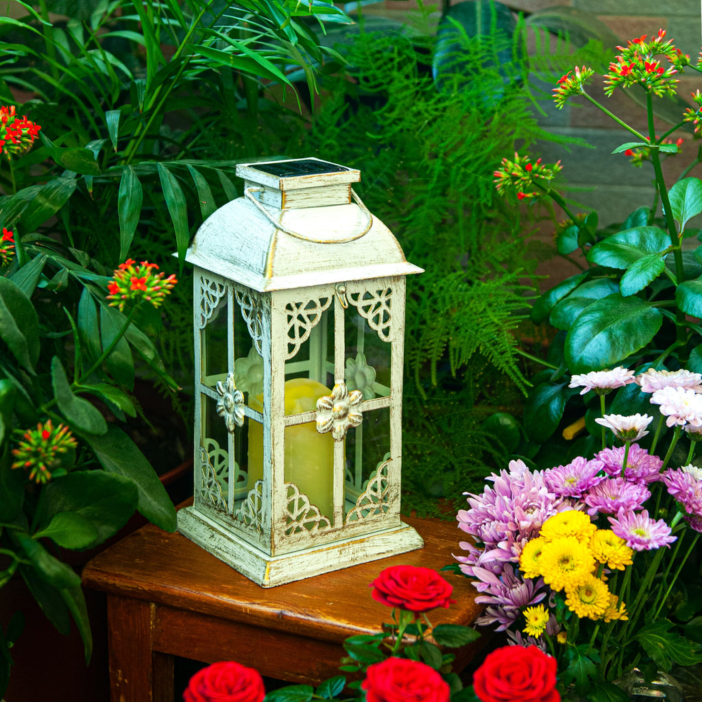 10% OFF NOW!!! - Solar Lantern Hyacinth White & Metal and Glass Construction