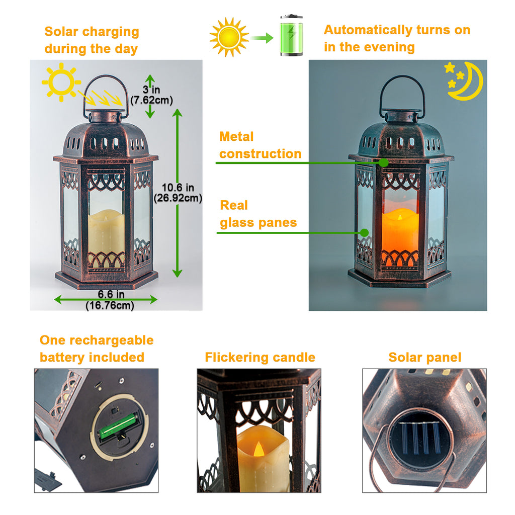 Solar Lantern 2 Pack  (Bronze) with Flickering Candle
