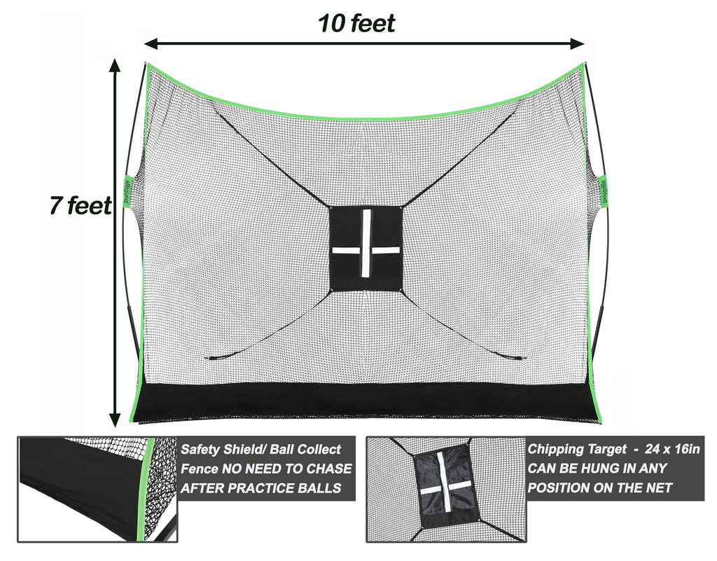 10x7ft Outdoors & Indoor Golf Net Bundle 3pc (US only)