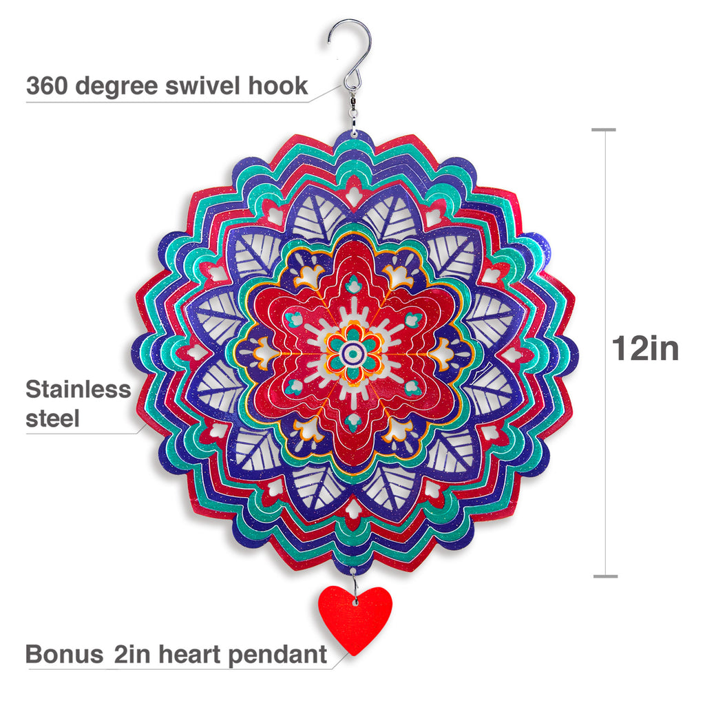 3D Wind Spinner Mandala Hibiscus 12in / Stainless Steel