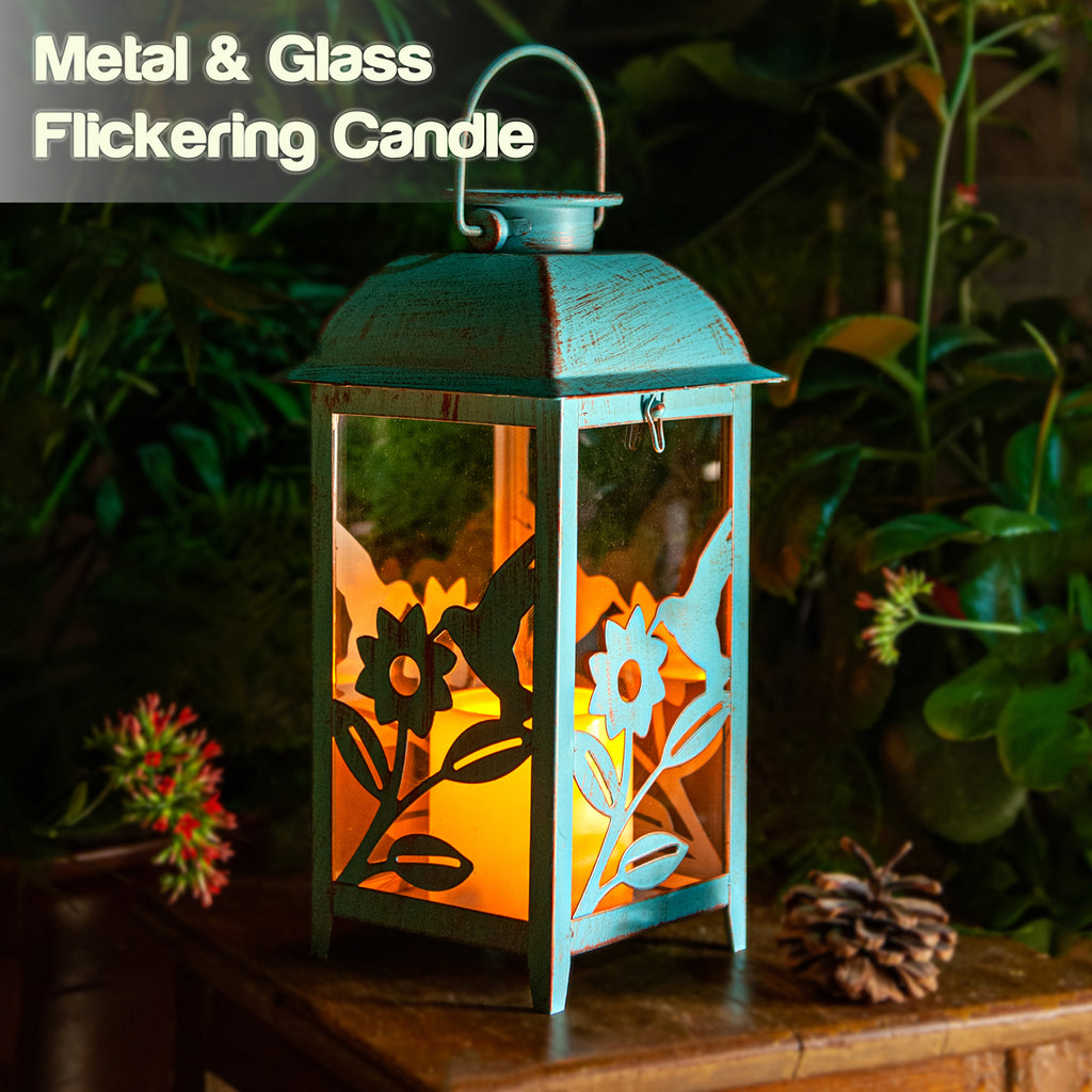 Solar Lantern Hummingbird Blue & Metal and Glass Construction
