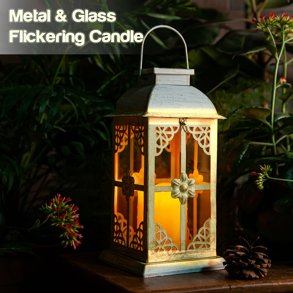 Solar Lantern Hyacinth White & Metal and Glass Construction